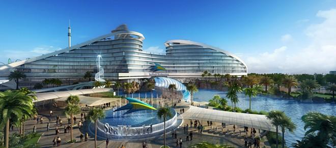Concept art of a now-canceled plan to redo SeaWorld Orlando's entrance - IMAGE VIA HETZEL DESIGN