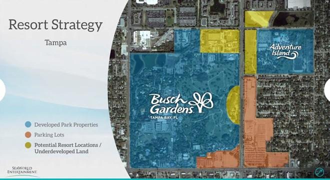 A slide from a 2015 investor presentation showing potential development sites on SeaWorld's Park Tampa resort. - IMAGE VIA SEAWORLD
