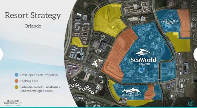 A slide from a 2015 investor presentation showing potential development sites on SeaWorld's Park Orlando resort.