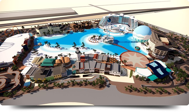 The site plan for the Crystal Lagoons Island Resort, now under construction in Glendale, Arizona - IMAGE VIA CRYSTAL LAGOONS ISLAND RESORT