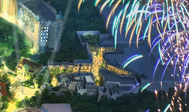 The hotel for Epic Universe can be seen on the left side of the image and the entrance area for the Wizarding World themed land on the right side. - IMAGE VIA NBCUNIVERSAL