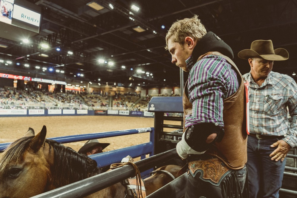 Lane Rowland, a 25-year-old cowboy based out of Dalton, Georgia, took second place in bareback horse riding.
