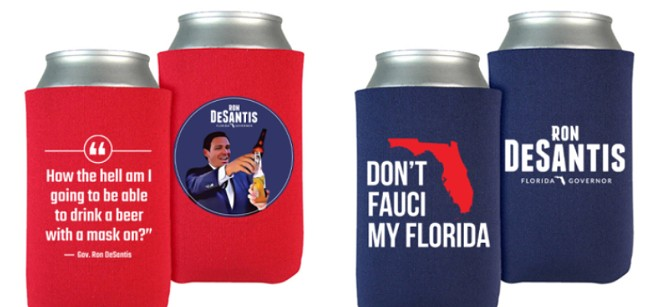 Florida Gov. Ron DeSantis is selling anti-COVID lockdown koozies on his campaign website. - PHOTOS VIA RON DESANTIS' WEB STORE