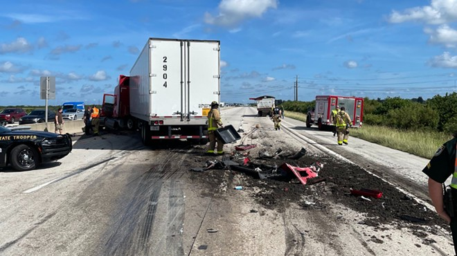 A dump truck spilled manure all over northbound I-95 on Tuesday. - PHOTO VIA FLORIDA HIGHWAY PATROL