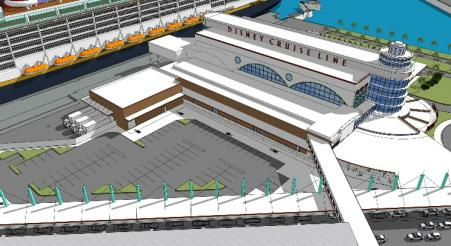 Concept art of the expanded Disney Cruise Line Terminal 8 at Port Canaveral. - IMAGE VIA PORT CANAVERAL