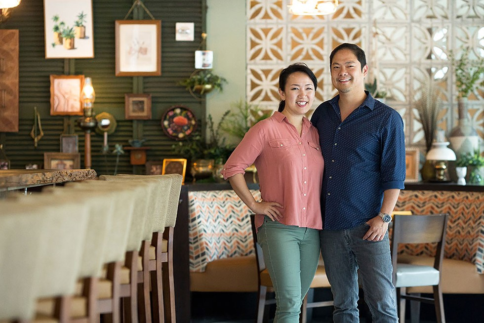 Sue and Jason Chin at Reyes Mezcaleria, one of their restaurants. - PHOTO BY ROB BARTLETT