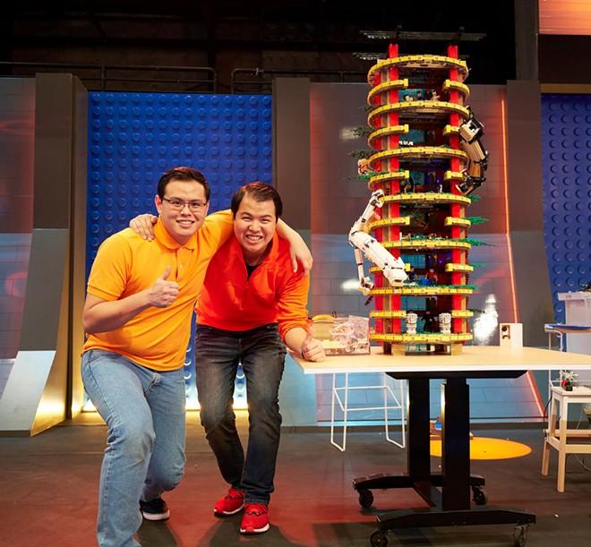 Zack and Wayne Macasaet of Stockton, CA with their Pagoda of Our Lives LEGO build - IMAGE VIA FOX | LEGOLAND FLORIDA | FACEBOOK