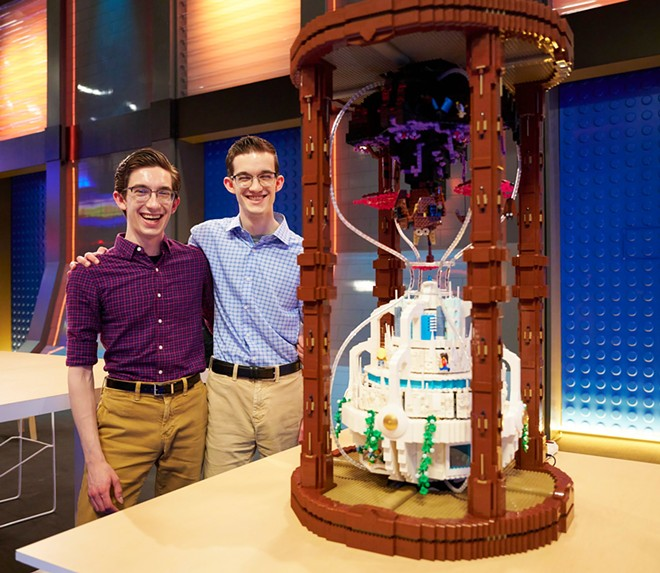 Jacob and Caleb Schilling of Holmen, WI with their hourglass-inspired final build - IMAGE VIA FOX | LEGOLAND FLORIDA | FACEBOOK