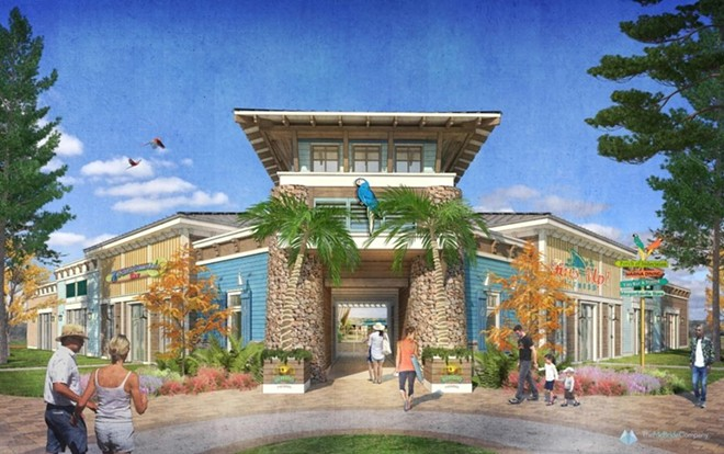 Concept art showcasing the type of on-site dining available at a Camp Margaritaville RV resort - IMAGE VIA CAMP MARGARITAVILLE