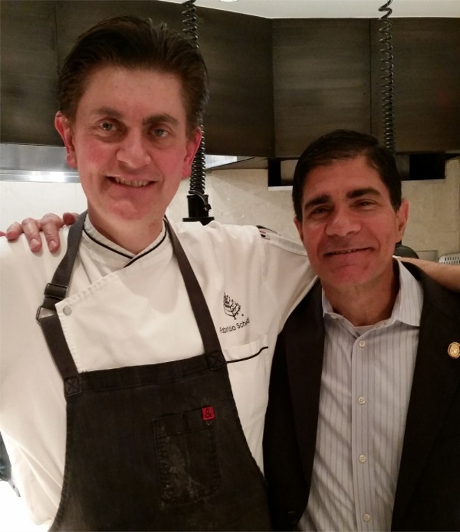 Executive chef Fabrizio Schenardi and Master Sommelier George Miliotes