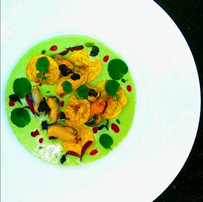 Mussels, fermented cucumber creme fraiche, plantains, watercress, Calabrese chili oil - PHOTO VIA PATRICK TRAMONTANA ON INSTAGRAM