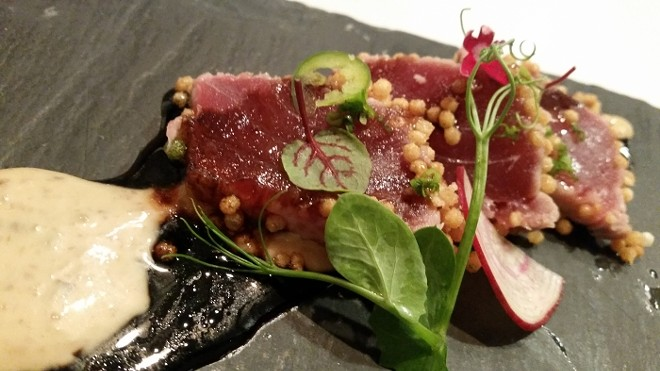 5. Seared maguro, bubu arare (baked rice crackers), shiitake crema, balsamic truffle-soy reduction