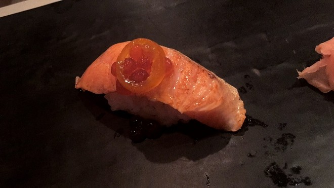 7. Nigiri of king salmon belly, cured ikura, kumquat confit