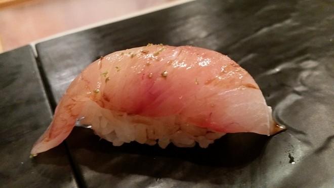 11. Nigiri of shimaaji (Japanese striped horse mackerel)