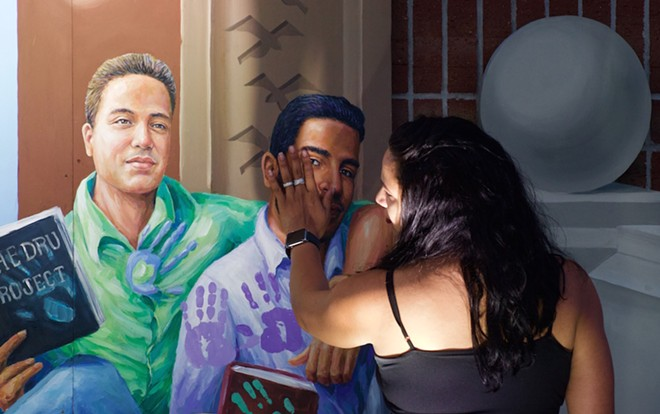 Celia Ruiz touches the painted likeness of her brother, Juan Ramon Guerrero. - PHOTO BY MONIVETTE CORDEIRO
