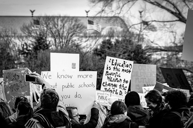 Photo from Last Janurary's Oppose Betsy DeVos Protest in Washington - PHOTO VIA TED EYTA/FLICKR