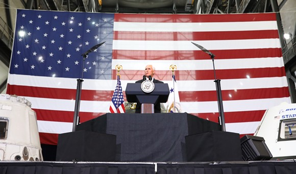 Vice President Mike Pence delivers remarks to a crowd of NASA engineers inside the Vehicle Assembly Building in Cape Canaveral, FLA on Thursday, July 6th. - JOEY ROULETTE FOR ORLANDO WEEKLY