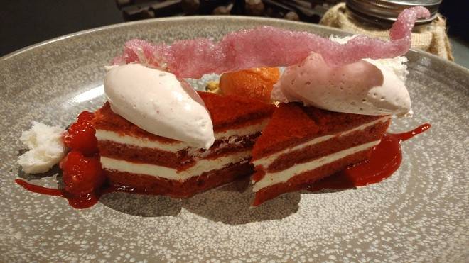 Red velvet cake, fresh berries, strawberry lemonade sorbet