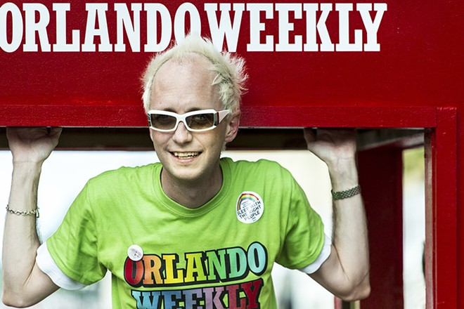 Billy on the Orlando Weekly float at 2012's Come Out With Pride parade - PHOTO BY ROB BARTLETT