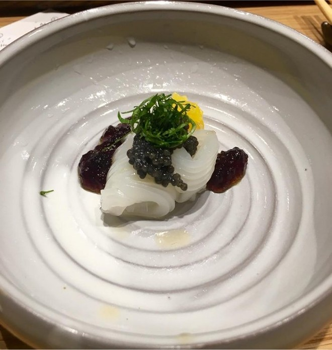 "Baby cuttlefish ""noodles,"" hackleback caviar, shiso"