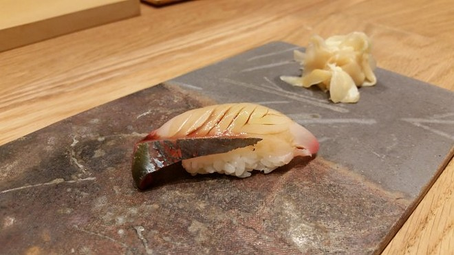Nigiri of shimaaji (striped mackerel)
