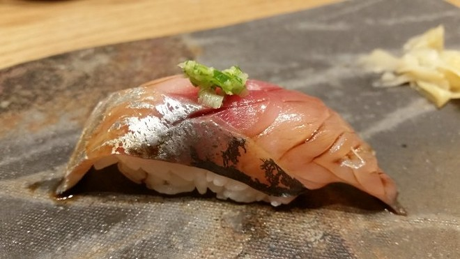 Nigiri of aji (Japanese horse mackerel)