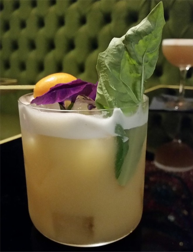 """Lucky Number Three"": Bourbon, agave nectar, egg whites, basil leaf, and kumquat - FAIYAZ KARA"