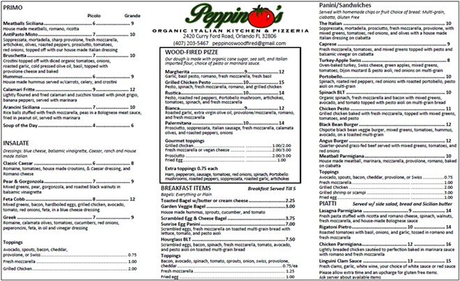 Peppino's menu