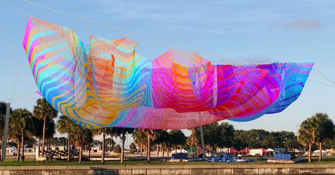 Janet Echelman's proposed artwork of Spa Beach - IMAGE VIA CITY OF ST. PETERSBURG, FLORIDA