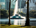 A man was stranded on the Lake Eola fountain last night after stealing a swan boat