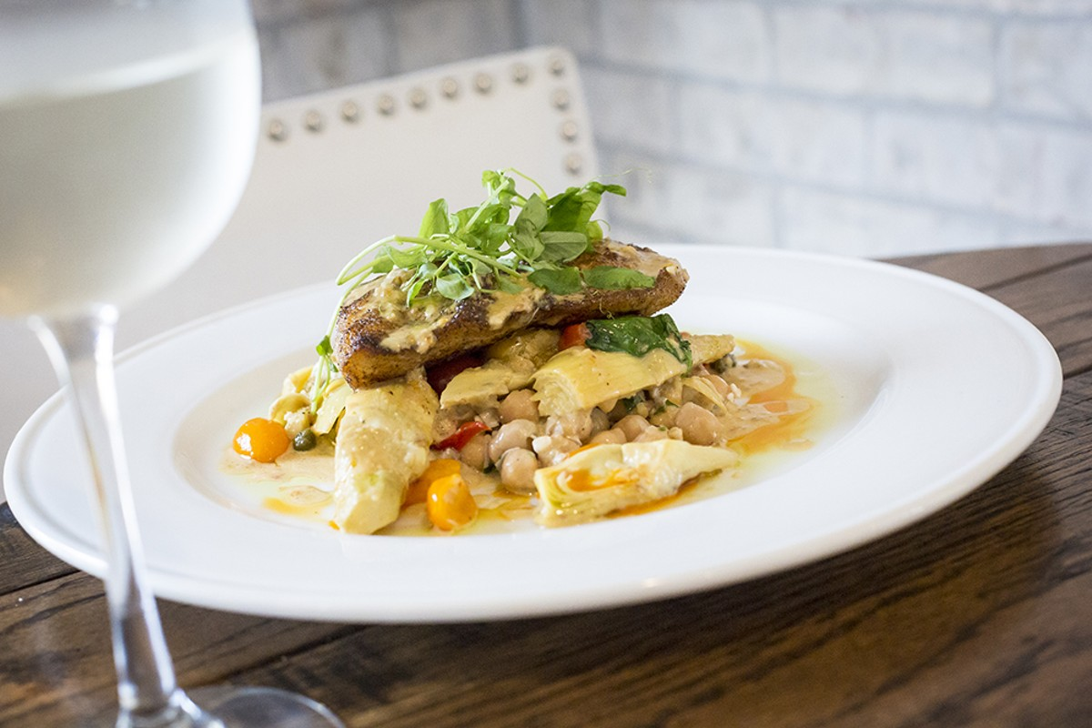 Grouper with chickpea salad, artichokes and heirloom tomatoes at Nova.