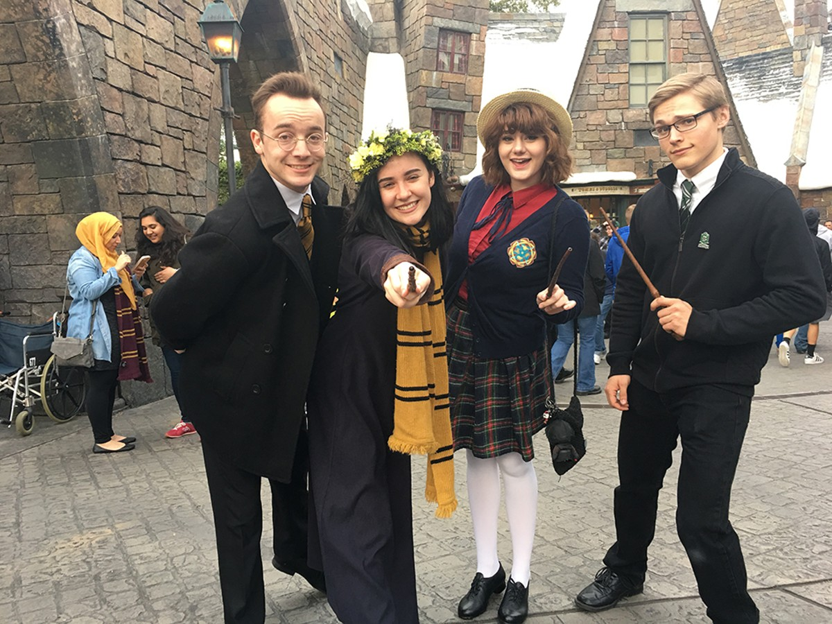 Accio Hogwarts uniform! cosplayers wave wands at Universal
