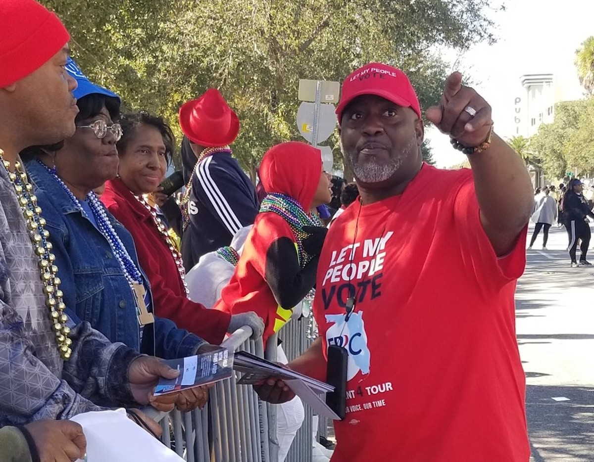 Florida Rights Restoration Coalition's Desmond Meade at the Jan. 20 MLK Parade in St. Pete