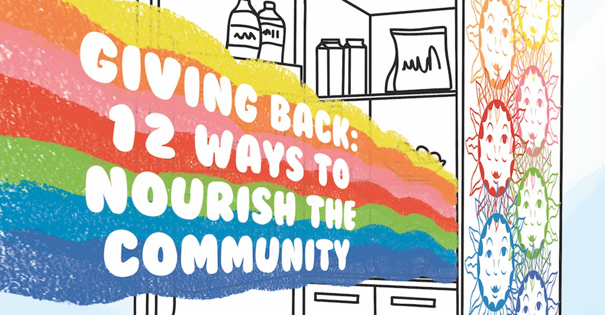 illustration based on the Everybody Eats Orlando Community Fridge, painted by Vonika Colas