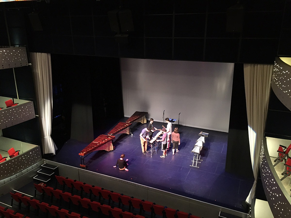 UCF Percussion Ensemble and Voci Dance rehearse at Pugh Theater