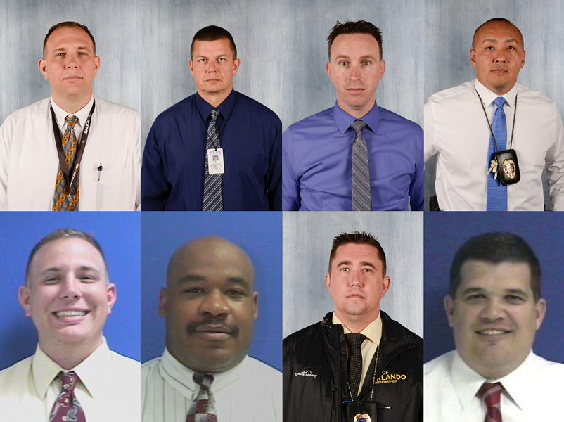 Orlando police officers participating as test subjects in the city's Amazon Rekognition pilot program pose for emulated mugshots and photos taken by the Orlando Police Department on March 20, 2018 - COMPOSITION BY JOEY ROULETTE, PHOTOS BY CITY OF ORLANDO VIA RECORDS REQUEST.