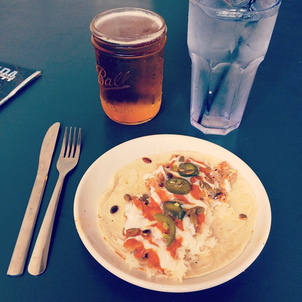 Butter chicken taco at Pig Floyd's Urban Barbakoa: one is plenty, but two are still under $10. - PHOTO BY JESSICA BRYCE YOUNG