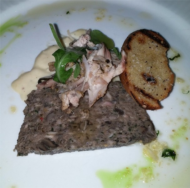 4th Course: escargots terrine, confit of Seely's Ark rabbit, arugula, pickled onions, grilled bread (wine: Carpineto, Chianti Riserva, Tuscany, Italy 2010) - PHOTO BY FAIYAZ KARA