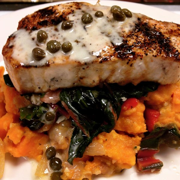 Possible NOVA menu item: Pine Island black grouper with sweet potato bacon hash, wilted Tuscan kale, lobster butter - PHOTO VIA NOVA ON FACEBOOK