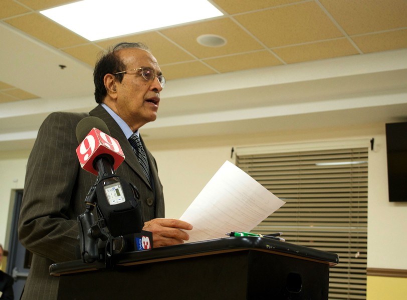 "Dr. Mohammad Akhtar, above, at ""Muslims and Terrorism: A community-based dialogue with a problem-solving approach."""