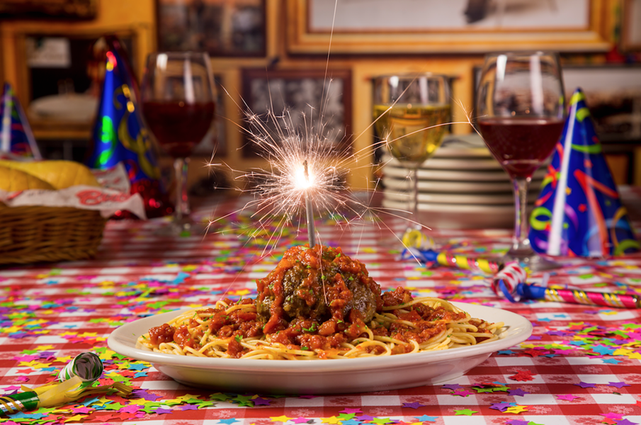 A CELEBRATORY PLATE OF BUCA DI BEPPO'S SPAGHETTI AND MEATBALLS