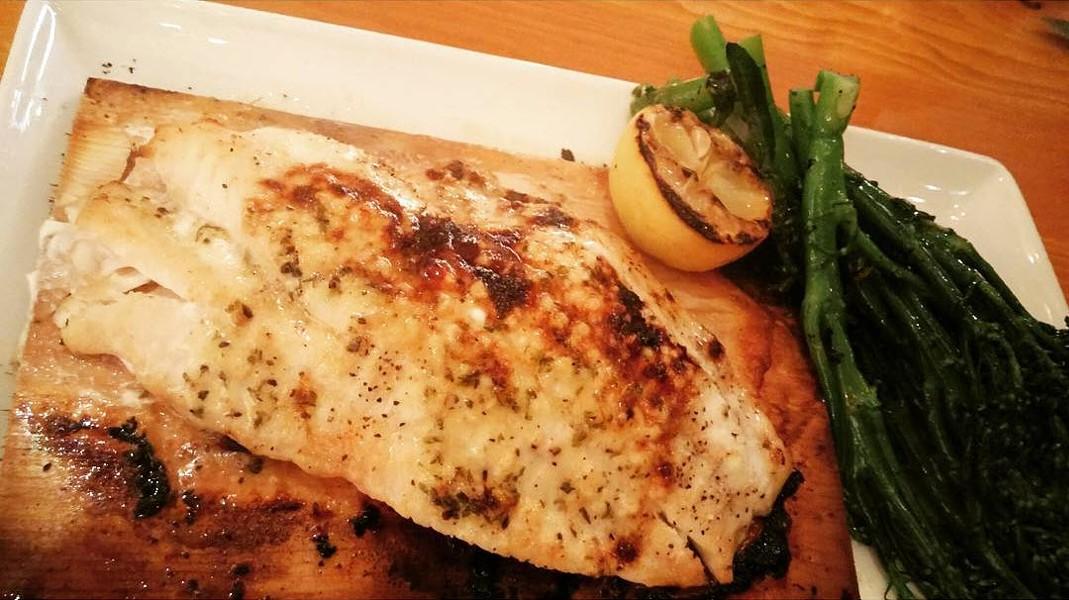 Cedar plank grouper