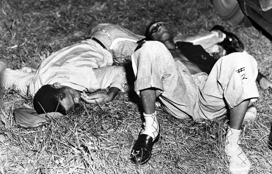 The bodies of Shepherd and Irvin after Sheriff McCall shot them, 1951 - PHOTO VIA FLORIDA STATE ARCHIVES