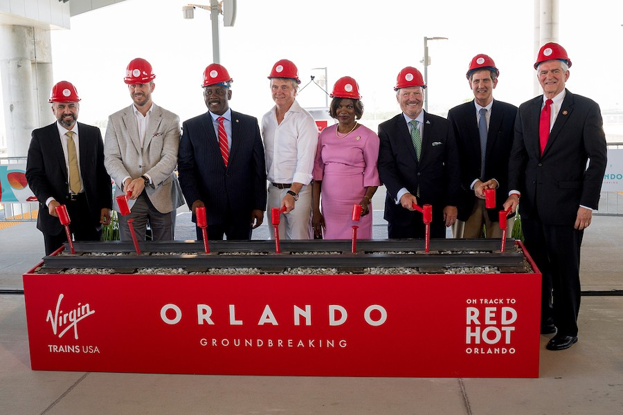 Orlando officials including Mayor Buddy Dyer and U.S. Rep. Val Demings, at the Virgin Trains Orlando groundbreaking, June 24, 2019 - PHOTO VIA VIRGIN TRAINS MEDIA