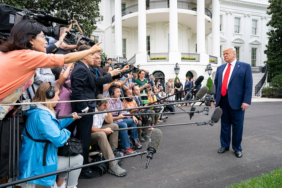 President Donald J. Trump facing impeachment questions form Washington, D.C., media on Oct. 3, 2019, as he departs for The Villages - PHOTO VIA WIKIMEDIA COMMONS