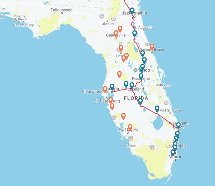 MAP OF AMTRAK FLORIDA ROUTES COURTESY OF AMTRAK