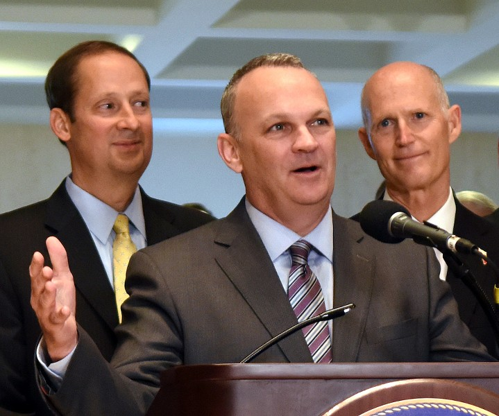 From the left, Senate President Joe Negron, R-Palm City, listens as then-Florida House Speaker Richard Corcoran, R-Lutz, comments on successes at the end of the special session of the Legislature with Gov. Rick Scott at his side June 9, 2017. - PHOTO VIA FLORIDA HOUSE OF REPRESENTATIVES/WIKIMEDIA COMMONS