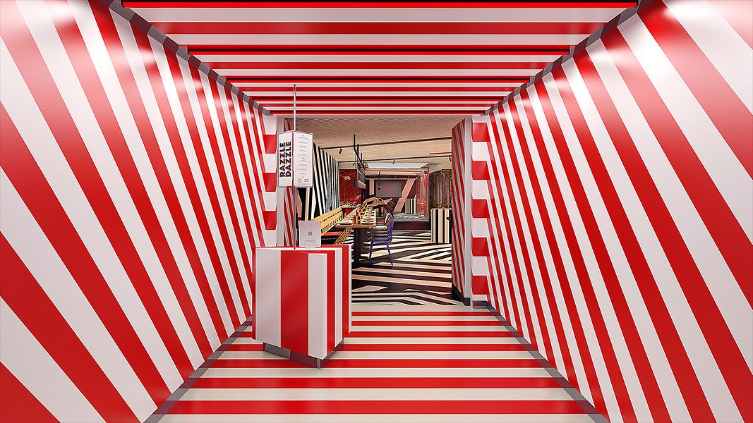 Razzle Dazzle's entrance on the Virgin Voyage's Scarlett Lady - IMAGE VIA VIRGIN VOYAGES