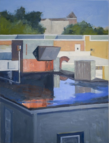 ROBERT ROSS, ROOFTOP AFTER THE RAIN, 2019, OIL ON CANVAS, COURTESY OF THE ARTIST