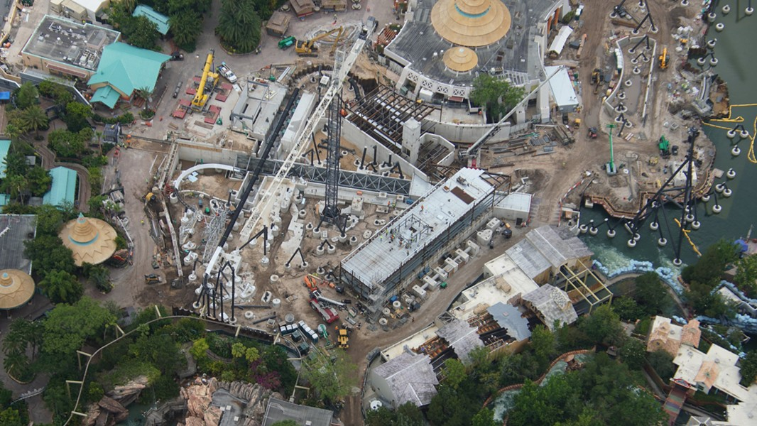 The yet to be announced Jurassic Park coaster at Islands of Adventure that is expected to open in 2021. - IMAGE VIA BIORECONSTRUCT | TWITTER
